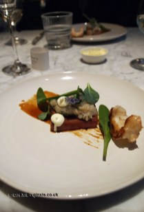 Pork belly, langoustine tartare, baked langoustine, oyster leaf, lambs year, reduced spiced sauce, honey glaze, Graanmarkt 13, Antwerp, Belgium