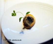 Mushroom duxelle on Parmesan biscuit, Riberach, Belesta