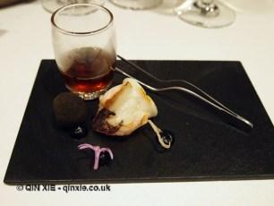 Squid, black croquette and crispy onion, Azurmendi, Vizcaya