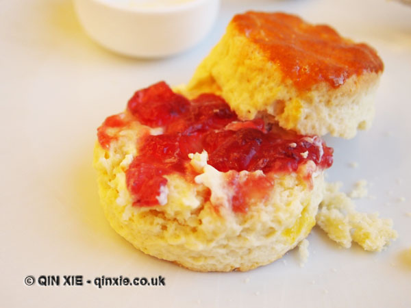 Jam and clotted cream on scone, Christmas Afternoon Tea at Wellington Lounge