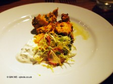 Tandoori chicken with holy basil and cucumber raita, NYE 2013, Cinnamon Kitchen