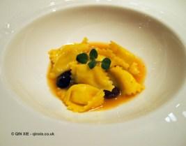 Polenta agnolotti and stockfish stew, Enoteca Pinchiorri, Florence
