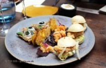 Popcorn mushroom, squid with wakame, Steamed bun, fish chicharron, zarza criolla, Langoustine and huarango tree, Corn diversity, Nikkei Sunday at Lima, London