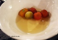Tomatoes in sauce, aromatic herbs on a capers base - Josean Alija, #7Chefs1Dinner at Hispania, London