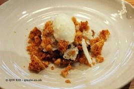 Goat's cheese ice-cream, oat & milk crumb, honeycomb, Dessert bar, Pollen Street Social, London