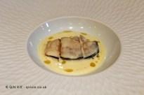 """Ostra Valenciana, aguacate y horchata de galanga (Valencian oyster, avocado and ginger """"horchata""""), Ricard Camarena, Valencia"""