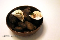 Raw and sliced mushroom, butter fried yeast, Gastrologik, Stockholm