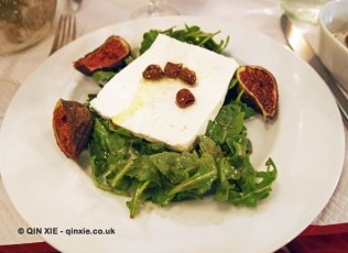 Salad of rocket, ricotta cheese, preserved olives, baked figs and honey vinaigrette dressing, La Merenda, Nice