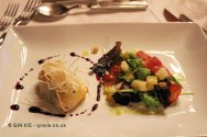 Tomato salad, cheese croquette, Quinta do Portal, Douro Valley