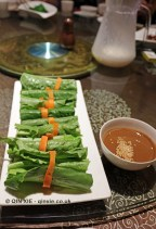 Lettuce leaves with satay dip, Vegan Restaurant, Chengdu