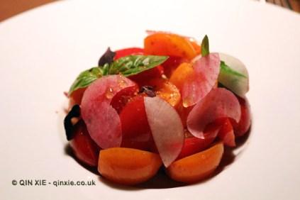 Tomato salad, vanilla, lime, orange, Table No 1 by Jason Atherton, Shanghai