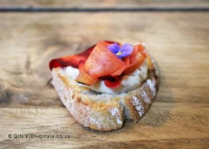Whipped lardo, pickled carrot, flowers, sourdough toast, James Ramsden's Secret Larder Supper Club