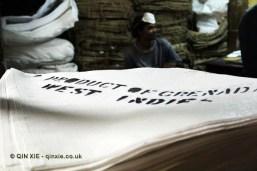 Hand printed sacks, Gouyave nutmeg factory, Grenada