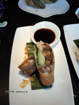 Crispy duck roll at Yauatcha City, London
