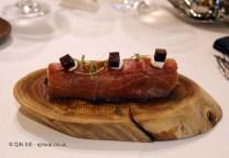 Flame roasted eggplant and caramelised in tuna fat, rillete and tuna belly (Ricard Camarena), #AtxaAndreRicard at Azurmendi, Larrabetzu