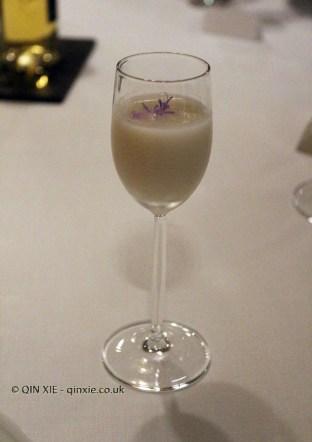 Non-alcoholic sake emulsion, #AtxaAndreRicard at Azurmendi, Larrabetzu