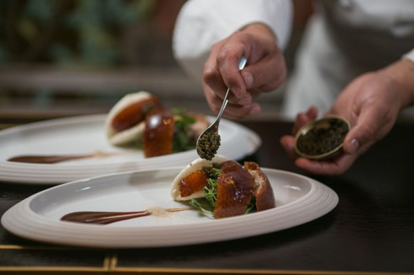 HKK's Cherry wood duck with mantou and caviar