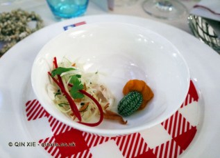 Ceviche of redfish with yam and tropical slaw, James Beard American Restaurant, Milan