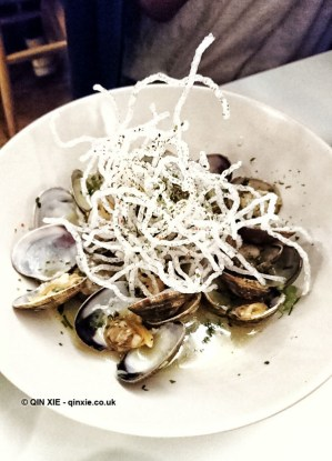 Clams and fried noodles at Jidori, Dalston
