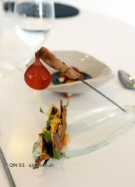 Preparation of old hen, its egg, crunchy cockscomb and grilled meat, Quique Dacosta, Denia