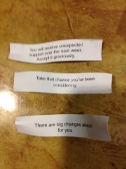 Fortunes for Oldest, Middle Boy and my husband (top to bottom)
