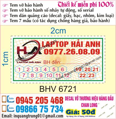 In tem bảo hành giá rẻ Bình Phước, thiết kế đẹp miễn phí, ship code toàn quốc