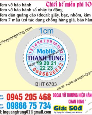 In tem bảo hành tại Hà Tĩnh