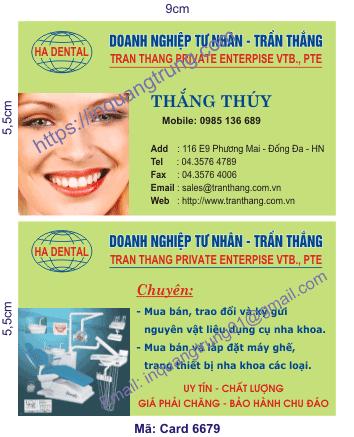 In card visit tại Bình Thuận