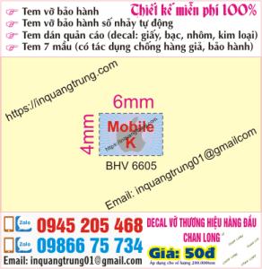 In tem bảo hành Đà Nẵng