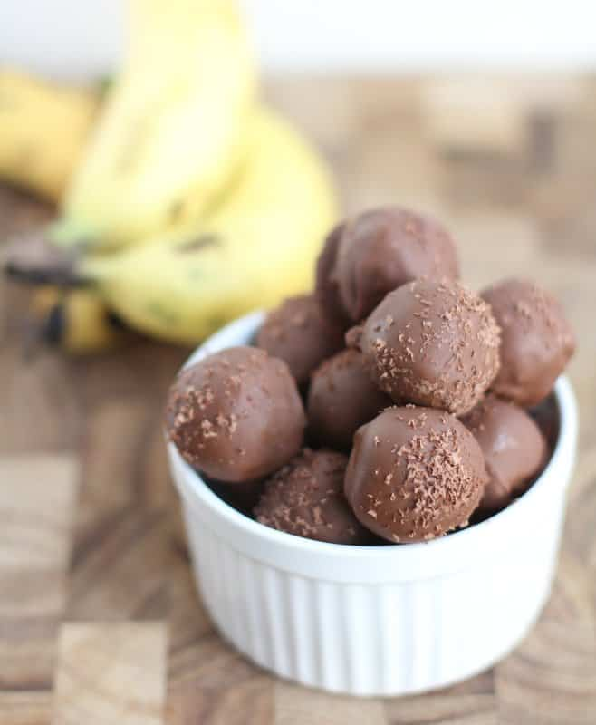 Chocolate-Dipped Banana Bread Truffles