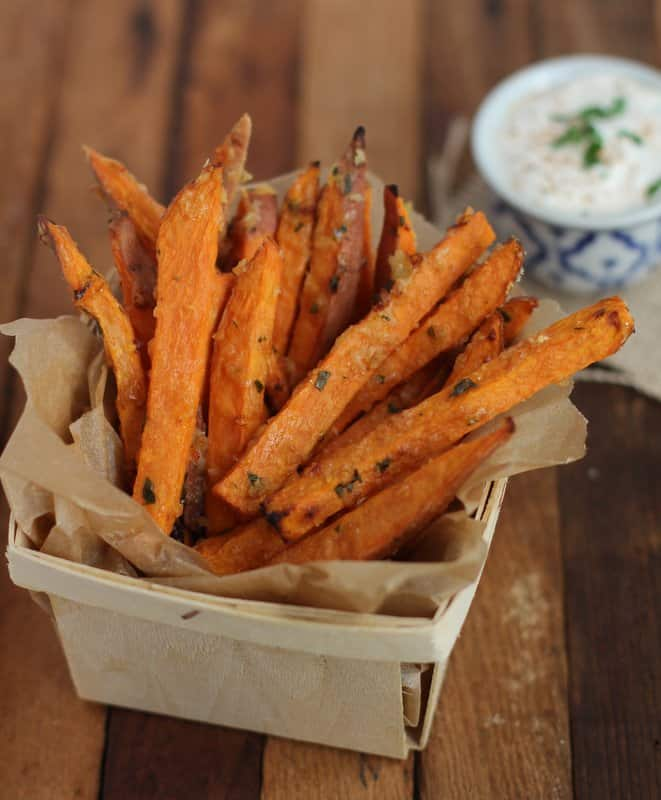 Parmesan-Thyme Baked Sweet Potato Fries - Inquiring Chef