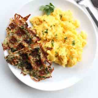 Waffle-Iron Hash Browns with Parmesan and Kale