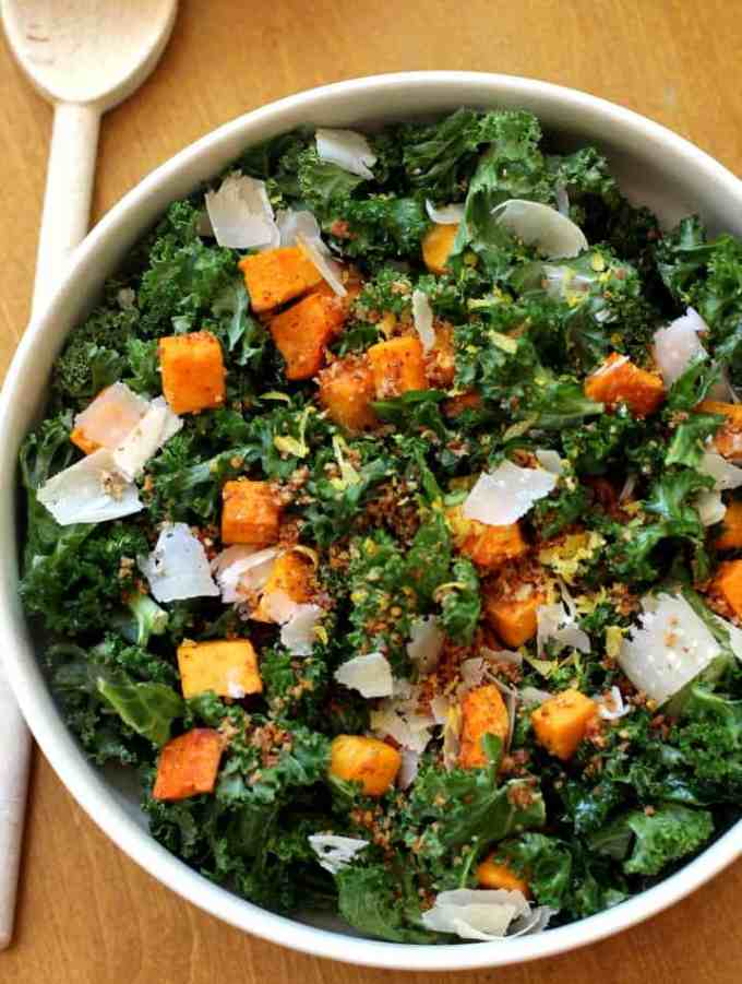 Kale Butternut Squash Salad via @inquiringchef