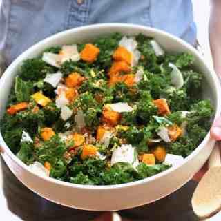 Kale Butternut Squash Salad via @inquiringchef