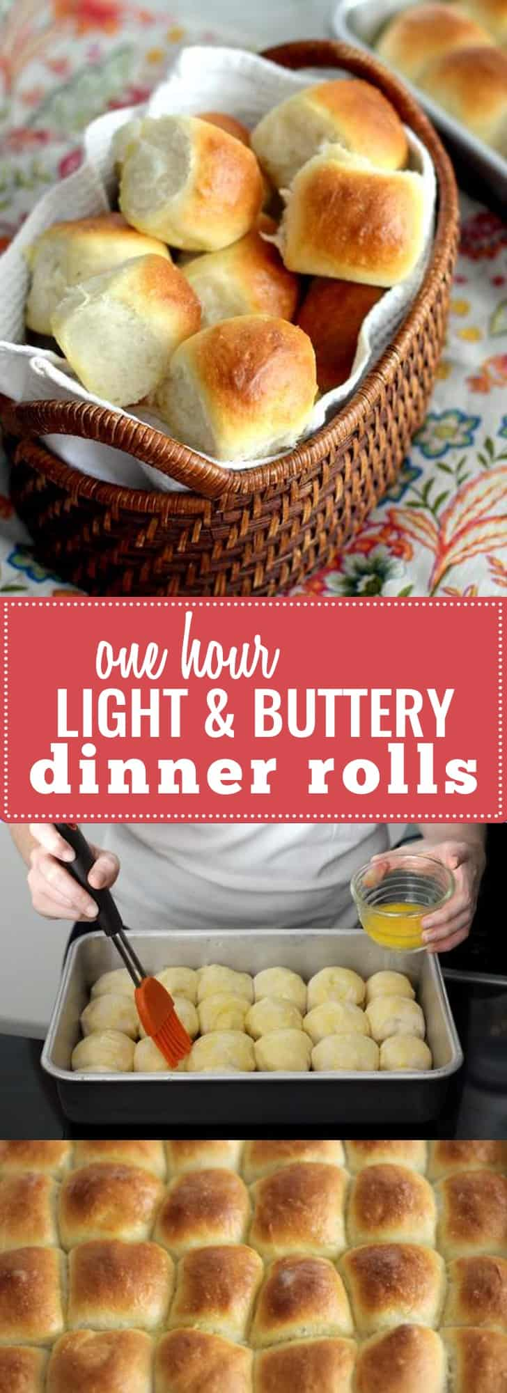 One Hour Light and Buttery Dinner Rolls- Have delicious, buttery, warm dinner rolls in one hour- for real! Perfect for any dinner party or family meal.