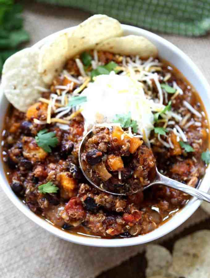 Slow Cooker Turkey, Black Bean and Sweet Potato Chili