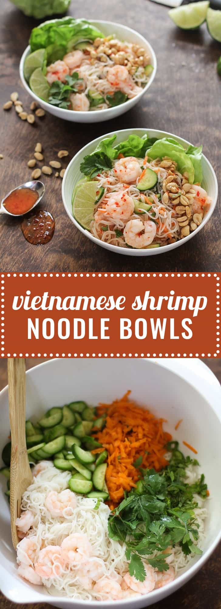 Vietnamese Shrimp Noodle Bowls - Fresh, sweet, and tart, Vietnamese Noodle Bowls are made for warm weather. They are great served chilled, so can be made ahead and refrigerated for up to a day. This is a unique salad to take to a potluck, and is always a hit!