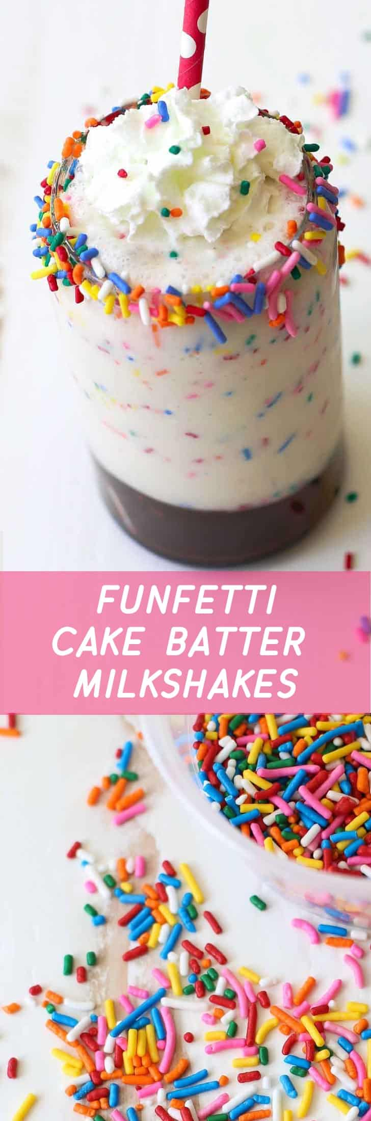 With all the flavor of cake batter, a swirl of hot fudge and loads of sprinkles, these milkshakes are even better than licking the bowl after making a funfetti cake.