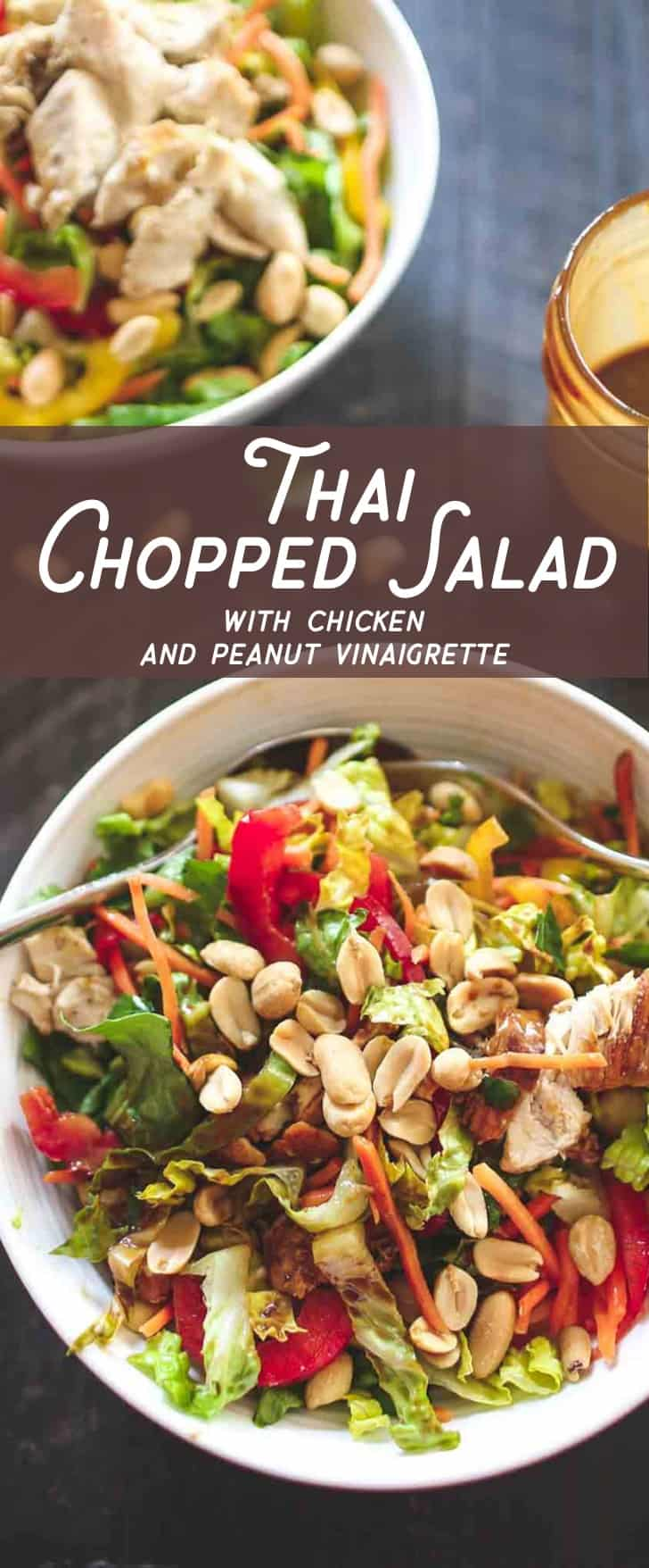 Thai Chopped Chicken Salad- With a rainbow of crunch from peppers and peanuts, protein from tender shredded chicken, and a bit of sweet spice from peanut dressing, this salad is gluten-free and only 350 calories per serving.