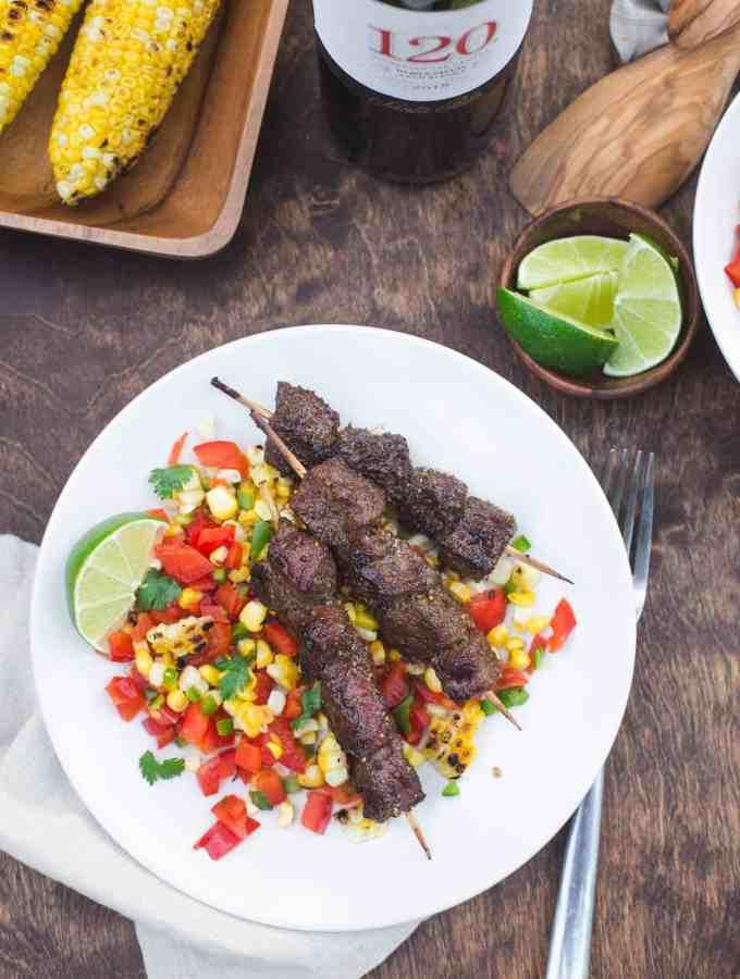 Chili-Lime Glazed Beef Skewers with Charred Corn Salsa