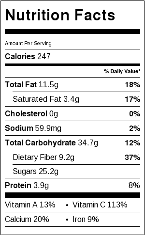 Mango Chia Breakfast Bowls Nutrition Label