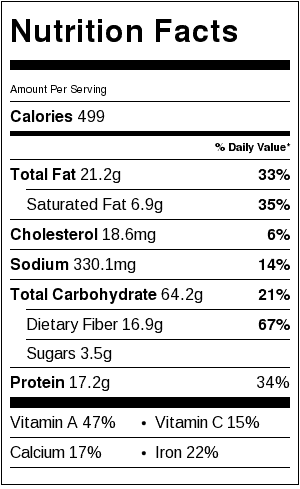 Sweet Potato Tacos_Nutrition Label