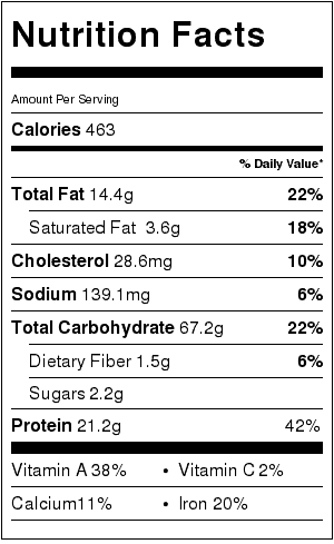 Skillet Chicken Pasta Nutrition Label