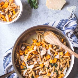 Skillet Chicken Pasta with Sweet Potato