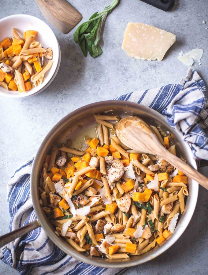 Skillet Chicken Pasta with Sweet Potato and Crispy Sage