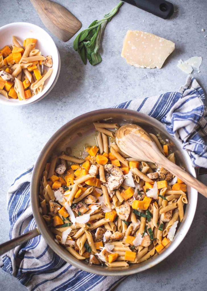 Skillet Chicken Pasta with Sweet Potato Parmesan Crispy Sage