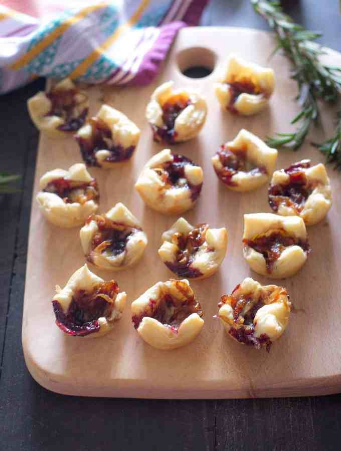Puff Pastry Bites with Caramelized Onions and Gouda