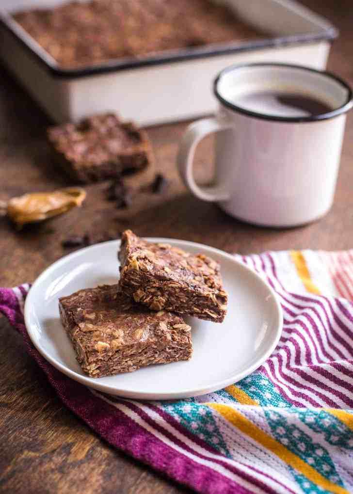 Chocolate Peanut Butter Oat Bars
