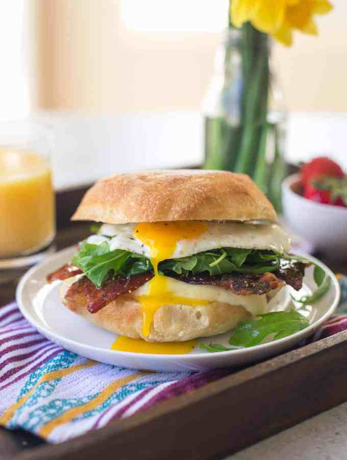 Egg, Brie and Arugula Breakfast Sandwich with Strawberry Glazed Bacon