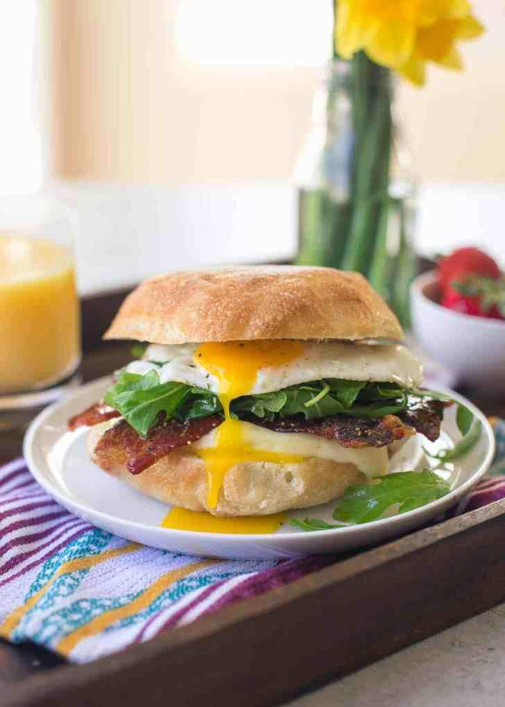 Bacon, Egg, Brie and Arugula Breakfast Sandwich